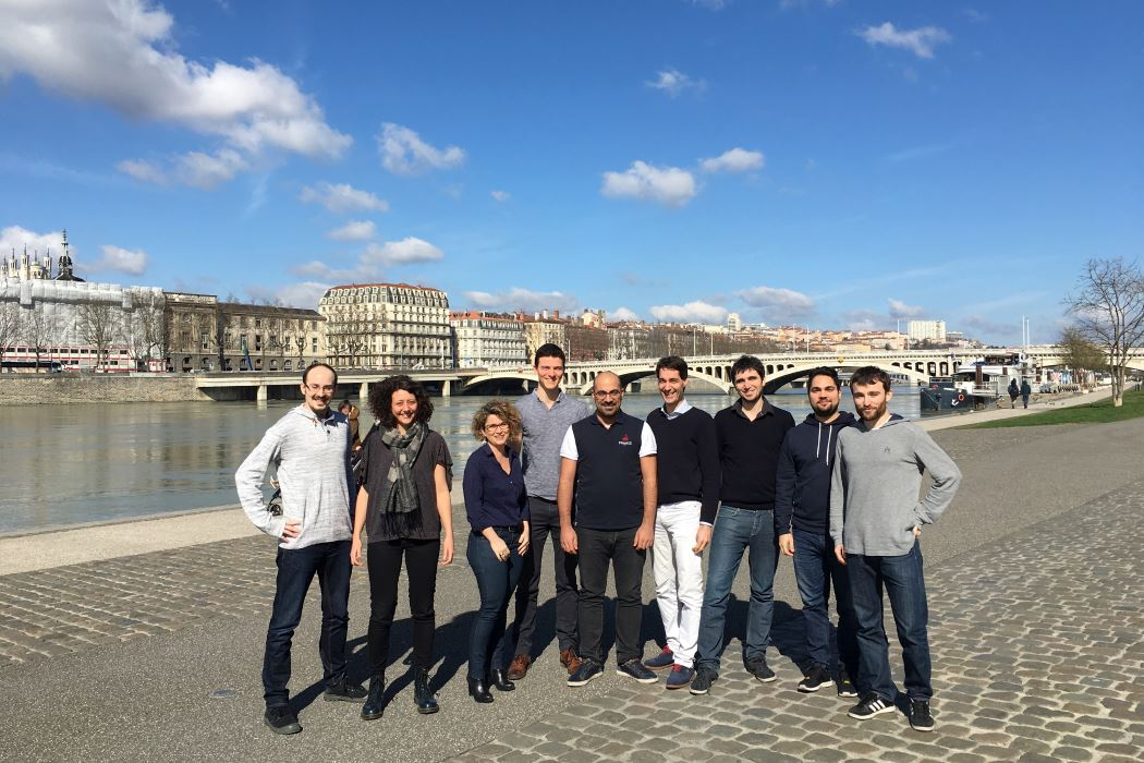 Mazen app team: (left to right) Clément, Emmanuelle, Anne, Kevyn, Mazen, Stéphane, Mehdi, Leslie, Thomas ; swimming in the Rhône river: Joseph, Vincent, Jean-Christophe